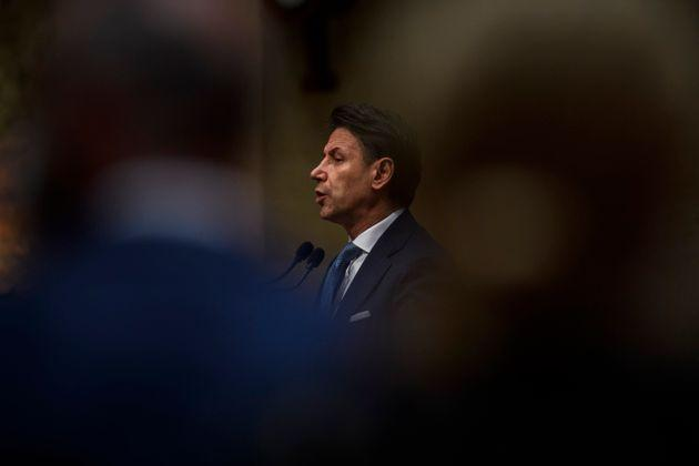 ROME, ITALY - JUNE 28: Former Prime Minister Giuseppe Conte delivers his speech during a press conference to discuss his role in the FIve-Star Movement (M5S), on June 28, 2021 in Rome, Italy. (Photo by Antonio Masiello/Getty Images) (Photo: Antonio Masiello via Getty Images)