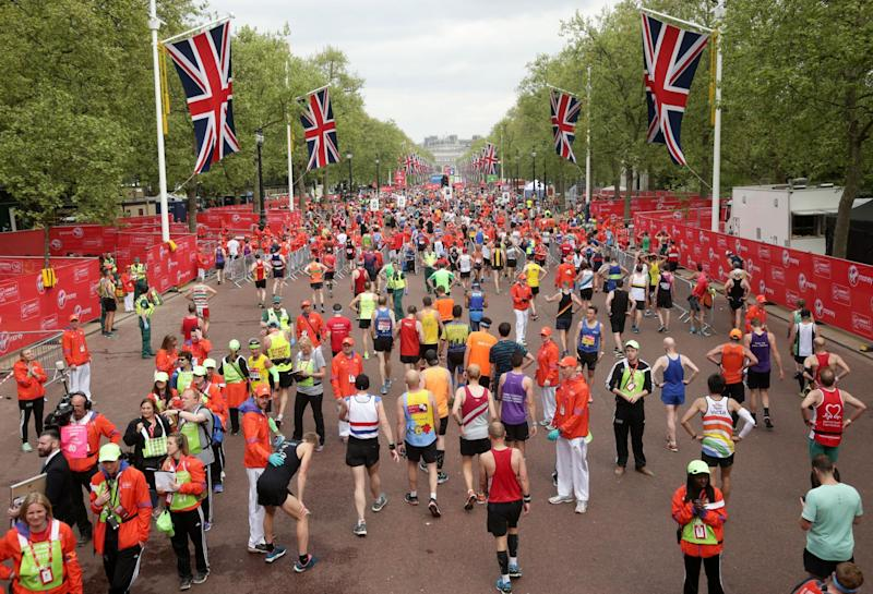 Reaching the end: The London Marathon: Yui Mok/PA Wire