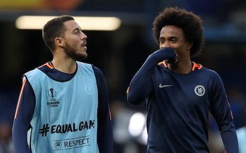 """Willian has said he'll be """"very sad"""" if Hazard leaves Chelsea in the summer - Credit: PA"""