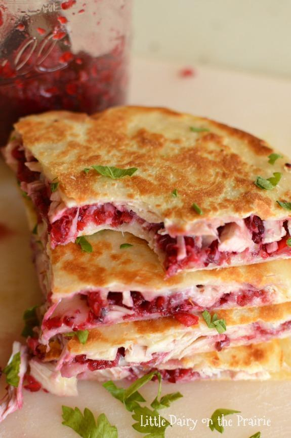 "<p>Sweet, savoury and packed with ooey gooey cheese. <br>Get the recipe <a href=""http://www.littledairyontheprairie.com/turkey-cranberry-quesadillas/"" rel=""nofollow noopener"" target=""_blank"" data-ylk=""slk:here"" class=""link rapid-noclick-resp""><strong>here</strong></a><br>[Photo: Little Dairy on the Prairie] </p>"