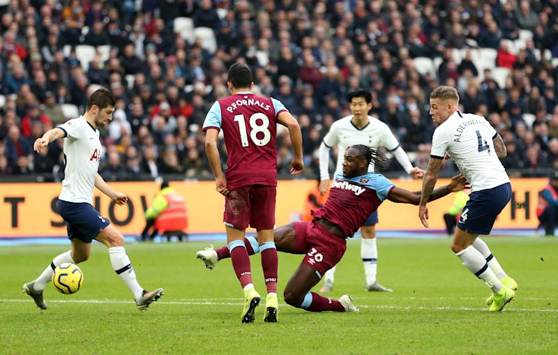 West Ham United's Michail Antonio (centre) scores his side's first goal of the game West Ham United v Tottenham Hotspur - Premier League - London Stadium 23-11-2019 . (Photo by Steven Paston/EMPICS/PA Images via Getty Images)