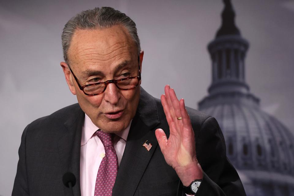 WASHINGTON, DC - MARCH 02: U.S. Senate Majority Leader Sen. Chuck Schumer (D-NY) speaks during a weekly news conference at the U.S. Capitol on March 2, 2021 in Washington, DC. Senate Democrats held a news conference to answer questions from members of the press.  (Photo by Alex Wong/Getty Images)