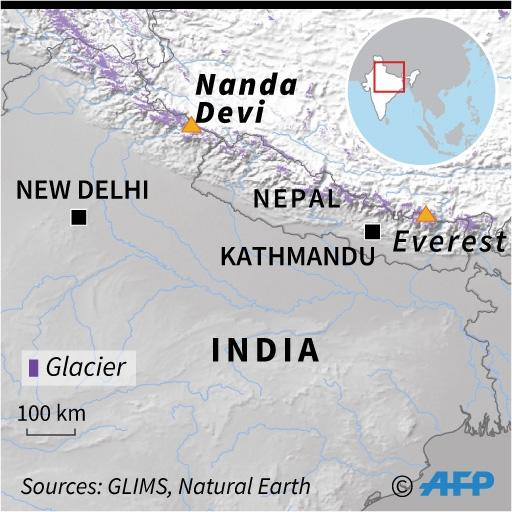 Map of the Himalayas locating Nanda Devi and Everest (AFP Photo/Sophie RAMIS)