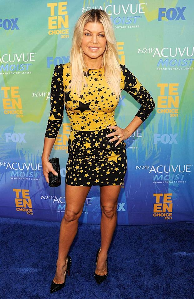 """And last but not least, we have Fergie, who continued to disappoint in a disastrous, star-spangled D&G dress and matching tresses. Hello?! There's a problem when your hair matches your outfit.   Follow What Were They Thinking?! creator, <a href=""""http://bit.ly/lifeontheMlist"""" target=""""new"""">Matt Whitfield</a>, on Twitter! Kevin Mazur/<a href=""""http://www.wireimage.com"""" target=""""new"""">WireImage.com</a> - August 7, 2011"""