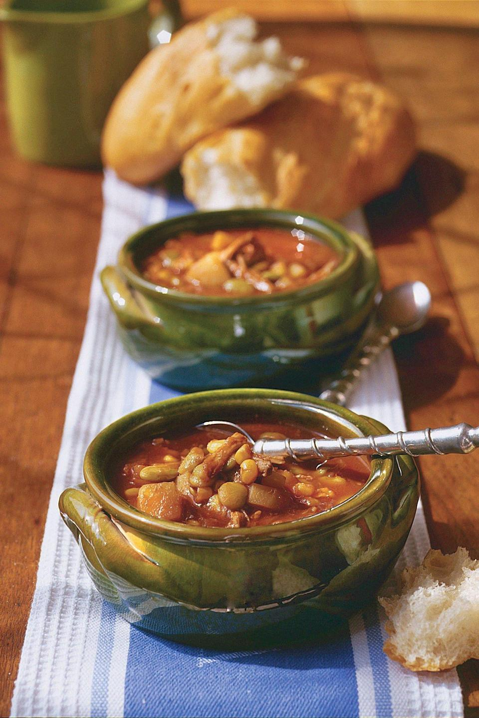"""<p><strong>Recipe:</strong> <a href=""""http://www.myrecipes.com/recipe/easy-brunswick-stew-10000001152943/"""" rel=""""nofollow noopener"""" target=""""_blank"""" data-ylk=""""slk:Easy Brunswick Stew"""" class=""""link rapid-noclick-resp""""><strong>Easy Brunswick Stew</strong></a></p> <p>Cooking on low heat for a long time makes the meat extremely tender, so it shreds easily; high heat yields a less tender product.</p>"""