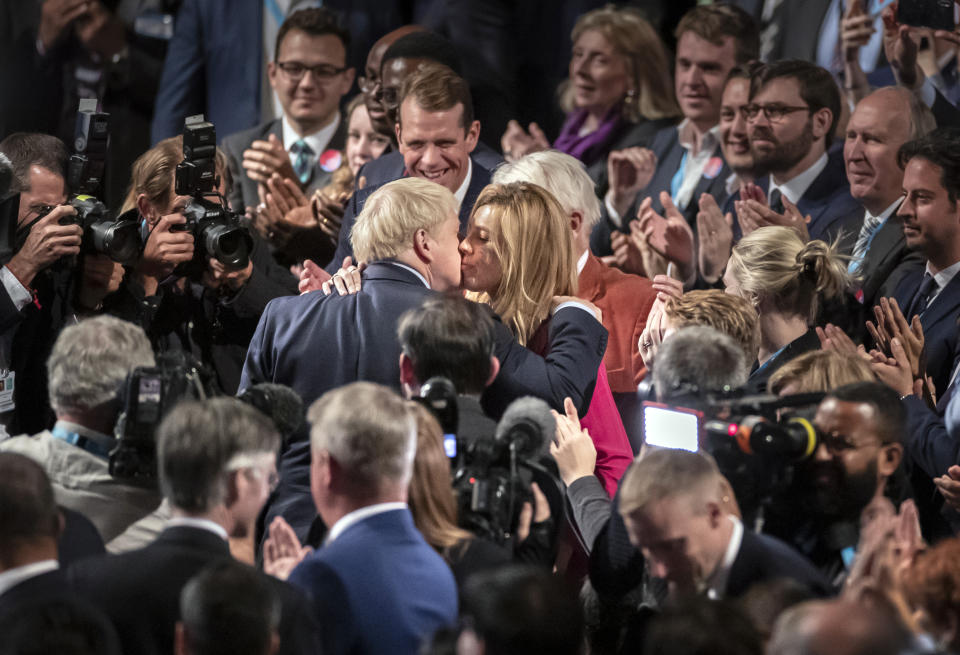 File photo dated 02/10/19 of Prime Minister Boris Johnson with partner Carrie Symonds, they have announced that they are expecting a baby in the early summer and that they have got engaged.