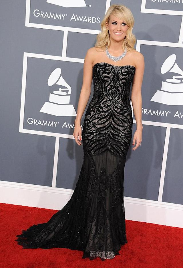 LOS ANGELES, CA - FEBRUARY 10: Carrie Underwood arrives at the The 55th Annual GRAMMY Awards on February 10, 2013 in Los Angeles, California. (Photo by Steve Granitz/WireImage)