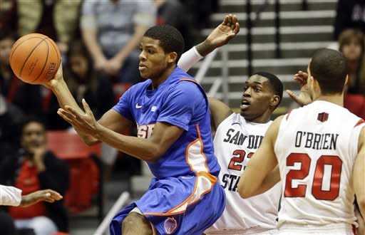 Boise State guard Derrick Marks passes under pressure from San Diego State forward Deshawn Stephens during the first half of an NCAA college basketball game, Wednesday, Feb. 6, 2013, in San Diego. (AP Photo/Lenny Ignelzi)