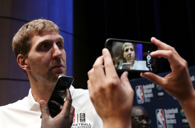 Dirk Nowitzki is entering his 20th NBA season and has taken to calling himself The Big Mummy. (AP)
