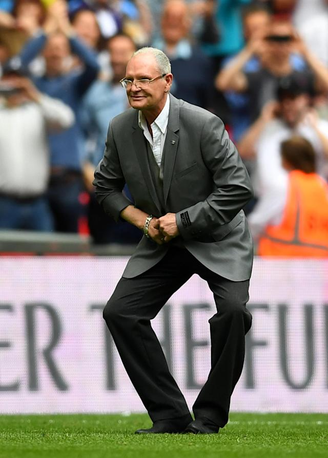 "Soccer Football - Premier League - Tottenham Hotspur vs Leicester City - Wembley Stadium, London, Britain - May 13, 2018 Former Tottenham player Paul Gascoigne on the pitch at half time REUTERS/Dylan Martinez EDITORIAL USE ONLY. No use with unauthorized audio, video, data, fixture lists, club/league logos or ""live"" services. Online in-match use limited to 75 images, no video emulation. No use in betting, games or single club/league/player publications. Please contact your account representative for further details."