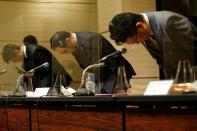 TSE CEO and President Miyahara holds a news conference in Tokyo
