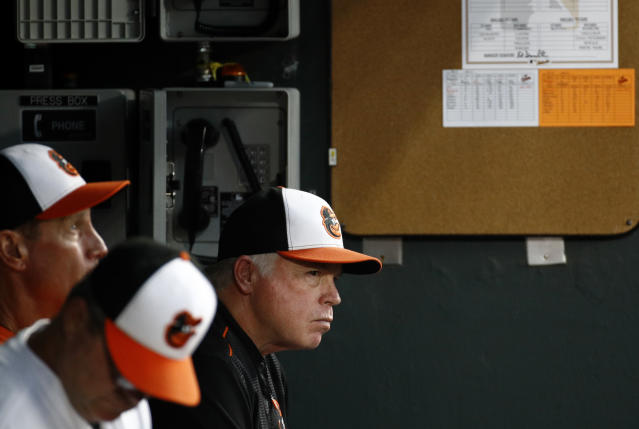 Baltimore Orioles manager Buck Showalter, right, sits in the dugout in the fourth inning of a baseball game against the New York Mets, Tuesday, Aug. 14, 2018, in Baltimore. (AP Photo/Patrick Semansky)