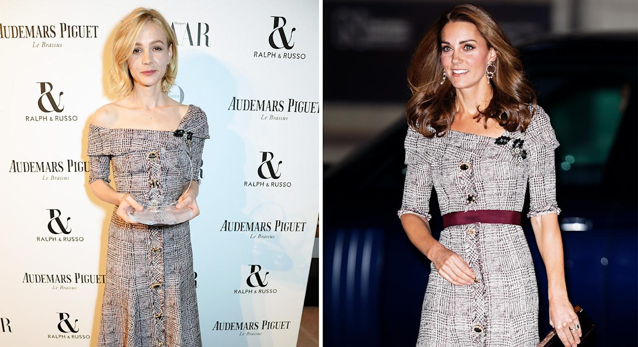 <p>Kate Middleton and Carey Mulligan twinned in matching tweed button-down dresses by Erdem. Both women pulled off the look with aplomb: Carey opted for pared-down makeup and an undone bob at the Harper's Bazaar Women of the Year Award in London, while Kate worked the look with an immaculate blow-dry at the opening of the V&A Photography Centre. [Photo: Getty/Rex] </p>