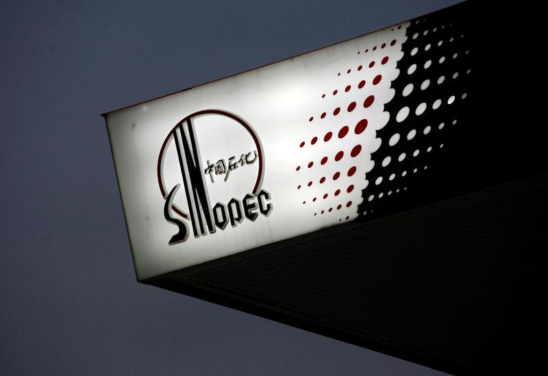 FILE PHOTO: The Sinopec logo is seen at one of its gas stations in Hong Kong