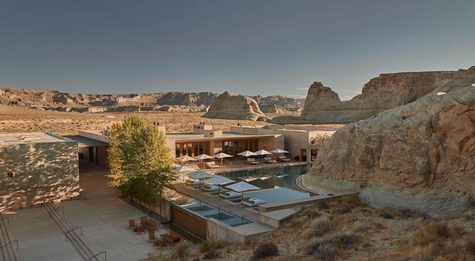 """<p>Dallas-based designer Michelle Nussbaumer says she's dreaming of visiting <a href=""""https://www.aman.com/resorts/amangiri"""" rel=""""nofollow noopener"""" target=""""_blank"""" data-ylk=""""slk:Amangiri Resort"""" class=""""link rapid-noclick-resp"""">Amangiri Resort</a> in Canyon Point, Utah right now. </p><p>""""Even though it's a resort, it's in the middle of nowhere, surrounded by all these hiking trails, natural pools and beauty,"""" she says.""""</p><p>Nussbaumer says there are some amazing Navajo relics in the area, like ancient dwellings, paintings and other natural wonders that would make the road trip all worth it. She also plans to make a stop at the Grand Canyon on the way back home!</p>"""