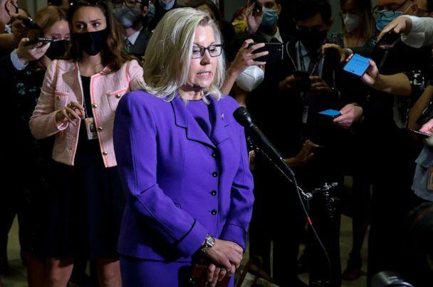 PHOTO: Rep. Liz Cheney speaks to reporters after her removal as chair of the House Republican Conference on Capitol Hill in Washington, D.C., May 12, 2021. (Jonathan Ernst/Reuters)