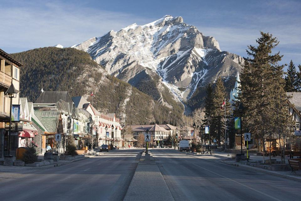 """<p>Nestled near Lake Louise, this stunning town has photo worthy views around every corner (<a href=""""https://www.banfflakelouise.com/park-webcams"""" rel=""""nofollow noopener"""" target=""""_blank"""" data-ylk=""""slk:check out the webcams if you don't believe it"""" class=""""link rapid-noclick-resp"""">check out the webcams if you don't believe it</a>). This family-friendly spot is best viewed one of the four sightseeing gondolas around town that will take you to the top of the nearby Rocky Mountains. </p>"""