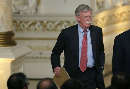 National Security Advisor John Bolton arrives to attend a joint press conference held by U.S. President Donald Trump and Japan's Prime Minister Shinzo Abe at Trump's Mar-a-Lago estate in Palm Beach, Florida, U.S., April 18, 2018. REUTERS/Joe Skipper