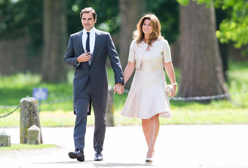 ENGLEFIELD GREEN, ENGLAND - MAY 20: Roger Federer and Mirka Federer attend the wedding Of Pippa Middleton and James Matthews at St Mark's Church on May 20, 2017 in Englefield Green, England. (Photo by Pool/Samir Hussein/WireImage)