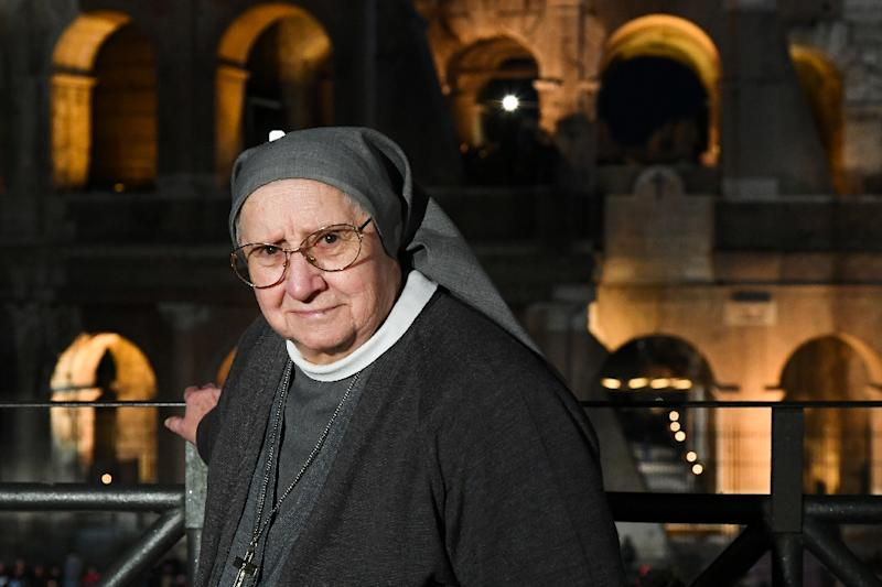 Italian nun Eugenia Bonetti, who composed this year's mediations for the Way of the Cross (AFP Photo/Vincenzo PINTO                      )