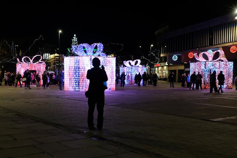 "Derby Christmas decorations, Derby City Centre, November 29 2019. A display of four illuminated Christmas presents has been ridiculed online and described as an embarrassing waste of money. Derby City Council spent £112,000 on the replacement for the ice skating rink it had in previous years. People on social media described the new feature as a ""disappointment"", ""ridiculous"", and ""dystopian"". The council said it was ""disappointed"" some people had chosen to judge the presents before they are fully working."