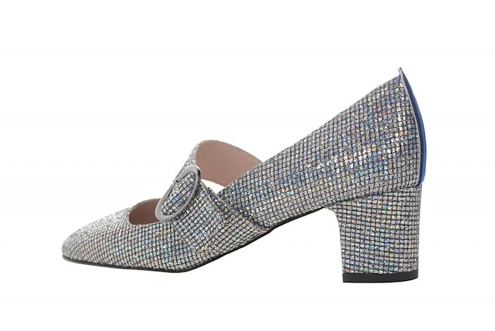 The SJP Mary Jane shoe features a blue stripe on the heel. (Photo: SJP collection)