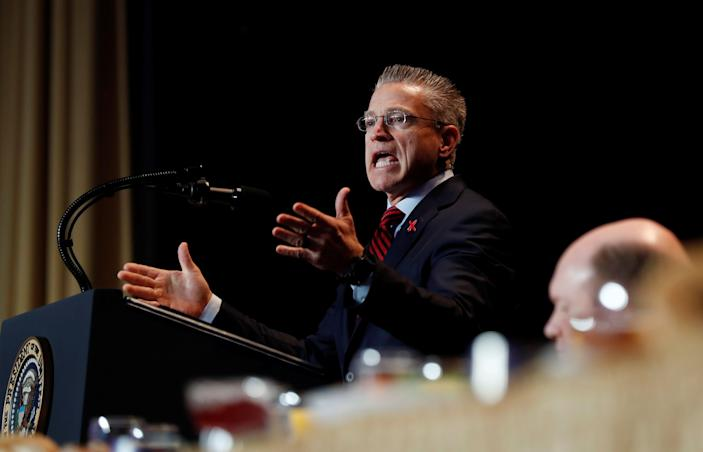 Keynote speaker Gary Haugen addresses the audience, including U.S. President Donald Trump, at the National Prayer Breakfast in Washington, U.S., February 7, 2019. REUTERS/Kevin Lamarque - RC1B11E1BBF0
