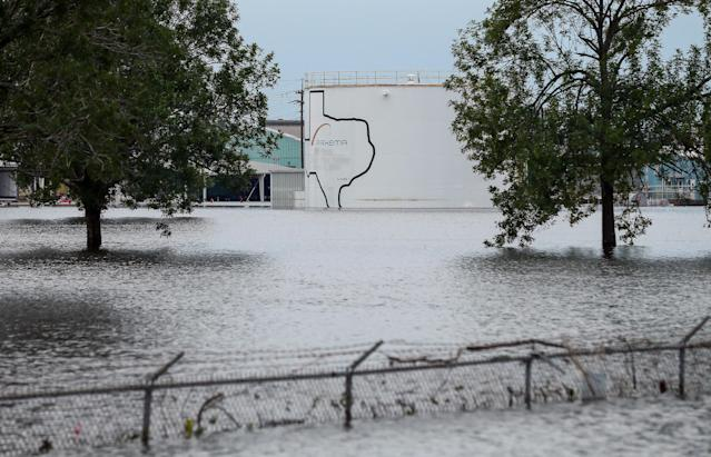 <p>The Arkema Inc. chemical plant is flooded from Tropical Storm Harvey, Wednesday, Aug. 30, 2017, in Crosby, Texas. The plant, about 25 miles (40.23 kilometers) northeast of Houston, lost power and its backup generators amid Harvey's dayslong deluge, leaving it without refrigeration for chemicals that become volatile as the temperature rises. (Photo: Godofredo A. Vasquez/Houston Chronicle via AP) </p>
