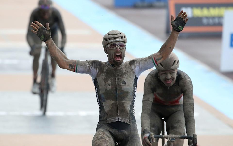 Sonny Colbrelli claims chaotic edition of wet and muddy Paris-Roubaix ending 22-year wait for Italian winner - REUTERS