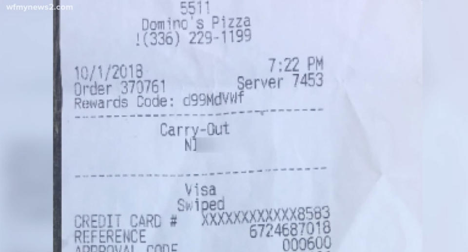 A Domino's restaurant in North Carolina fired an employee who wrote the N word on a customer's order. (Photo: wfmynews2.com)
