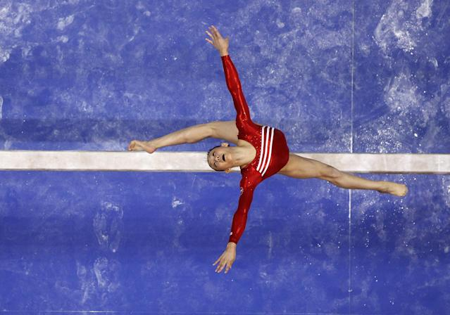 SAN JOSE, CA - JULY 01: Kyla Ross competes on the beam during day 4 of the 2012 U.S. Olympic Gymnastics Team Trials at HP Pavilion on July 1, 2012 in San Jose, California. (Photo by Ezra Shaw/Getty Images)