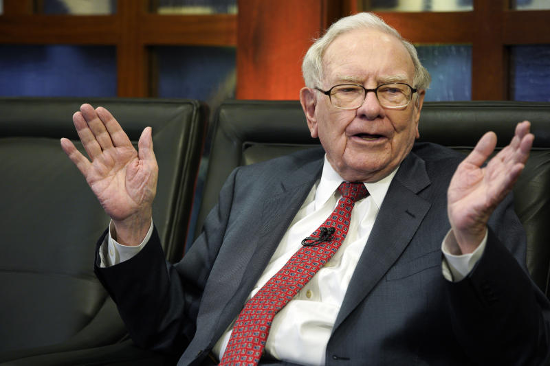 Berkshire Hathaway Chairman and CEO Warren Buffett speaks during an interview.