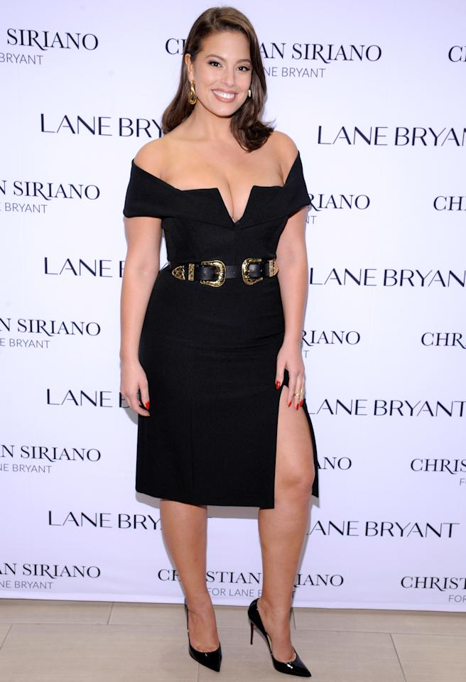 <p>An off-the-shoulder style draws attention to your face and collarbone, while the low cut shows off your decolletage. If you'd like to cinch your waist, try adding a belt, as Graham does here.</p>