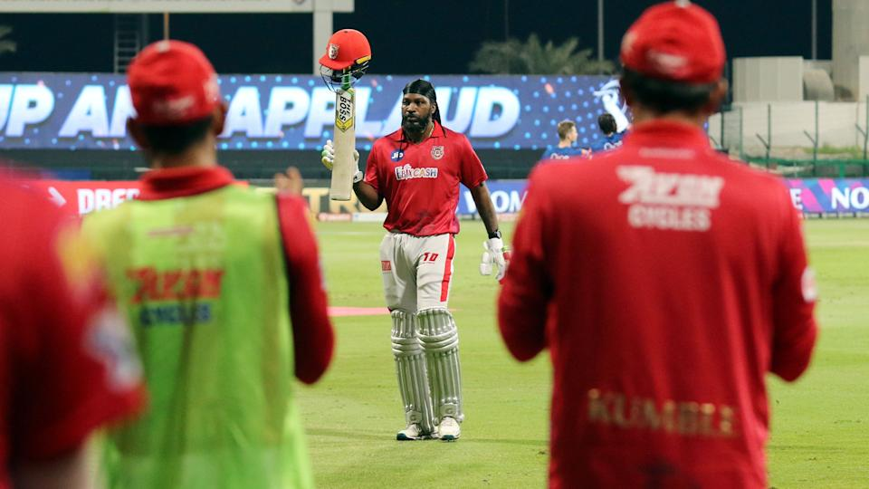 Chris Gayle acknowledges the applause for his blistering knock off 99 in Abu Dhabi