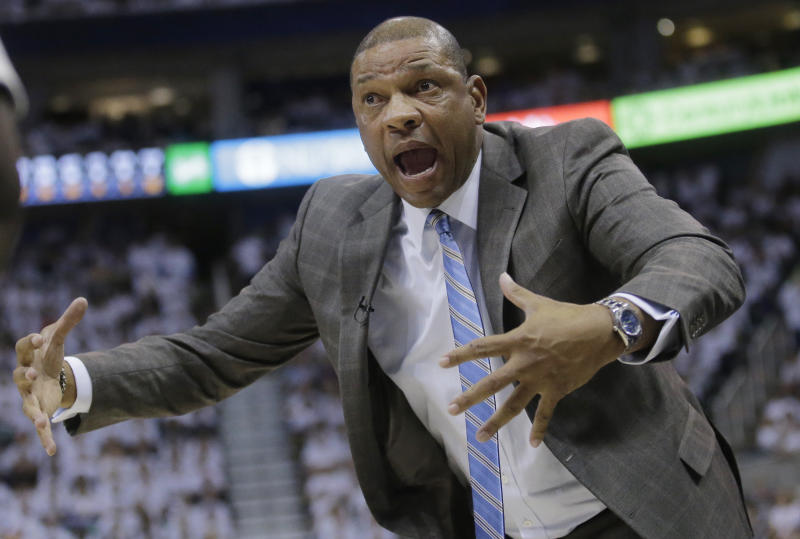Los Angeles Clippers head coach Doc Rivers argues with a referee during the second half in Game 4 of an NBA basketball first-round playoff series against the Utah Jazz on Sunday, April 23, 2017, in Salt Lake City. The Jazz won 105-98. (AP Photo/Rick Bowmer)