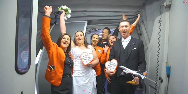 Jetstar team with bride and groom