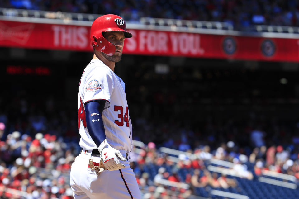 Washington Nationals' Bryce Harper (34) looks at the home plate umpire after being called out during the first inning of a baseball game against the Miami Marlins in Washington, Sunday, July 8, 2018. (AP Photo/Manuel Balce Ceneta)