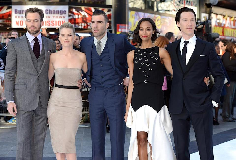 <p>Chris Pine, Alice Eve, Zachary Quinto, Zoe Saldana, and Benedict Cumberbatch in London on May 2, 2013. <i>(Photo: Karwai Tang/WireImage)</i></p>