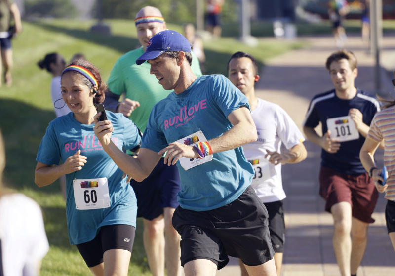 Beto O'Rourke participates in the Capital City Pride Fest Fun Run 5K in Des Moines, Iowa, Saturday. (AP Photo/Charlie Neibergall)
