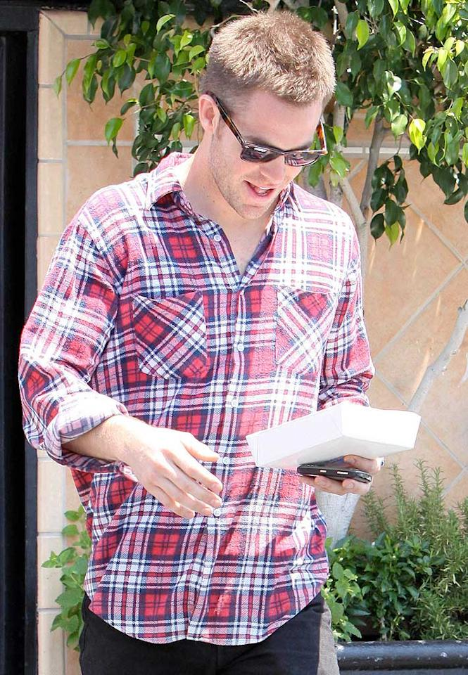 """Star Trek's"" Chris Pine rocks a casual red, white, and blue plaid shirt while out and about in LA. <a href=""http://www.x17online.com"" target=""new"">X17 Online</a> - May 20, 2009"
