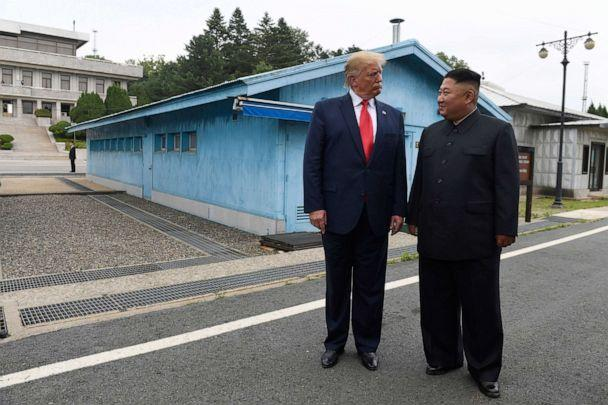 PHOTO: In this June 30, 2019, file photo, President Donald Trump meets with North Korean leader Kim Jong Un at the border village of Panmunjom in Demilitarized Zone, South Korea. (Susan Walsh/AP, FILE)