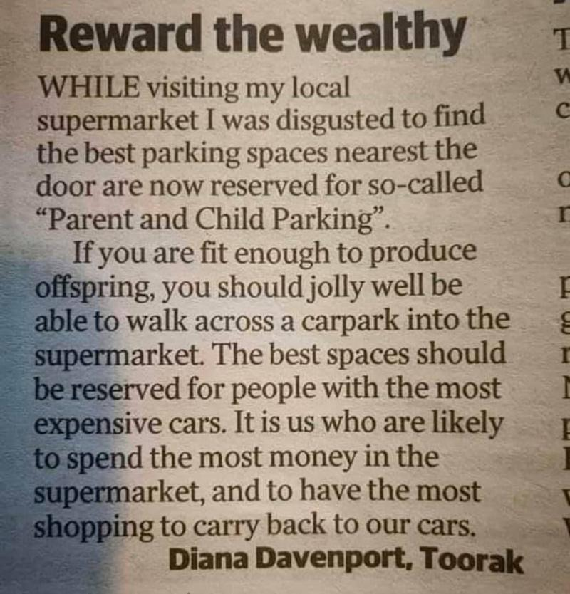 Letter to Herald Sun published Tuesday from Diana Davenport complaining about parenting bays at a Melbourne supermarket.