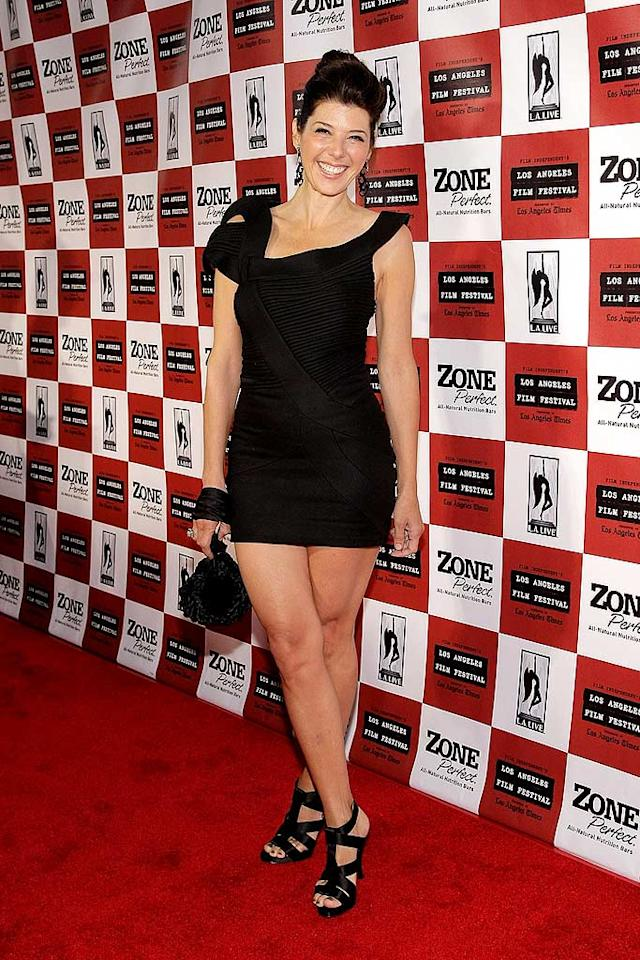 "Marisa Tomei never ceases to amaze on the red carpet. In fact, the 44-year-old star of ""Cyrus"" may have looked better than ever at the LA premiere of the indie comedy in her ribbed LBD, courtesy of Turkish designer Hakaan. Noel Vasquez/<a href=""http://www.gettyimages.com/"" target=""new"">GettyImages.com</a> - June 18, 2010"