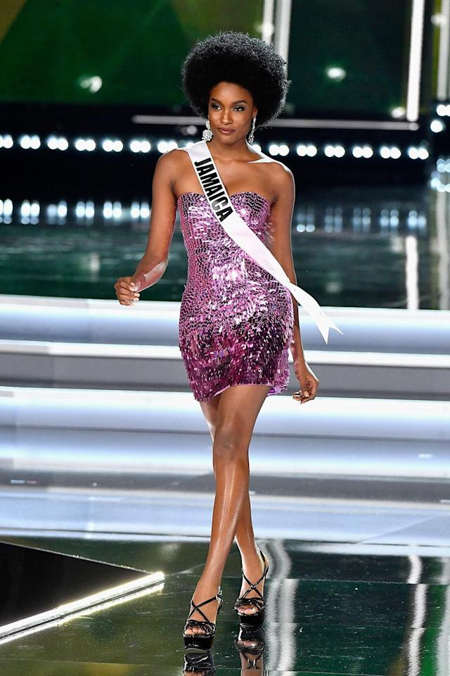 Miss Jamaica 2017, Davina Bennett, competes during the 2017 Miss Universe Pageant at The Axis at Planet Hollywood Resort & Casino on Nov. 26, 2017 in Las Vegas. (Photo by Frazer Harrison/Getty Images)