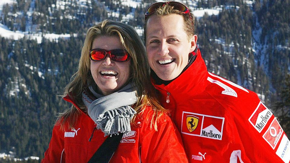 Michael Schumacher, pictured here with wife Corinna in Italy in 2005.