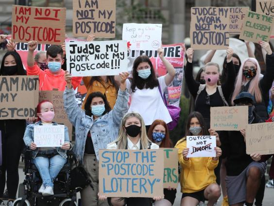 Protests by school students across Scotland, here seen in Glasgow, led to the SQA scrapping its downgrading system and an apology from Nicola Sturgeon (PA)