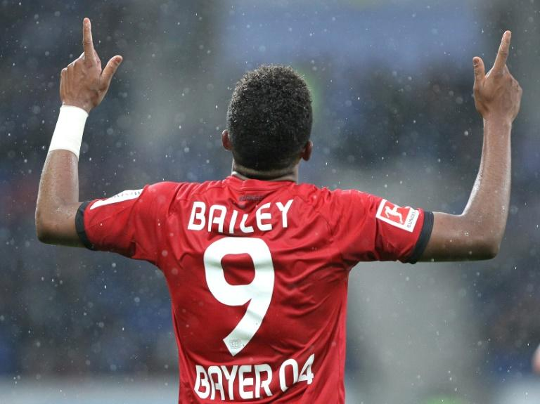 Leverkusen's midfielder Leon Bailey celebrates after scoring during a match against Bayer 04 Leverkusen on January 20, 2018