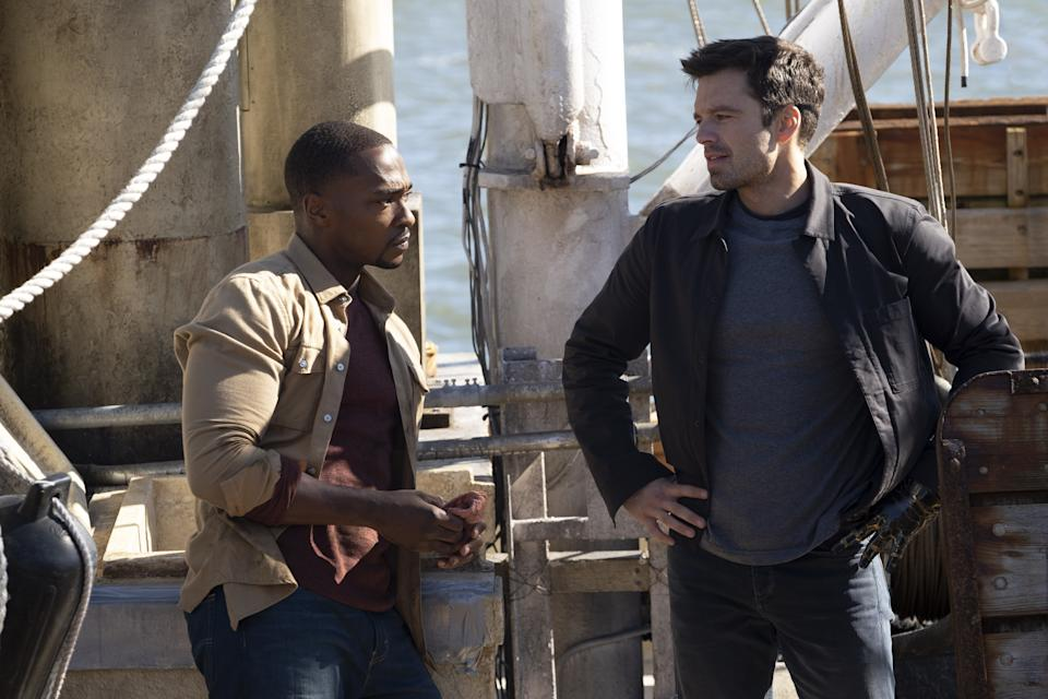 Falcon/Sam Wilson (Anthony Mackie) and Winter Soldier/Bucky Barnes (Sebastian Stan) in Marvel Studios'