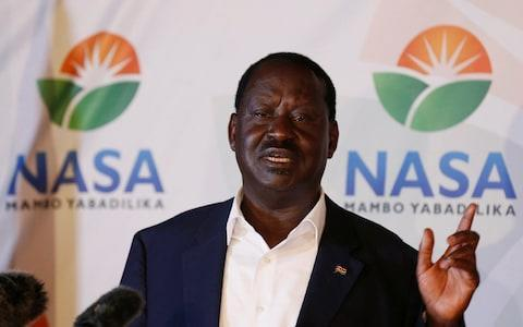 <span>Kenyan opposition leader Raila Odinga addresses a news conference</span> <span>Credit: REUTERS </span>