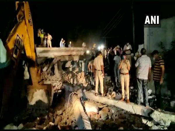 Rescue operation underway after after a three-story building collapsed in Gurugram's Khawaspur area on Sunday.